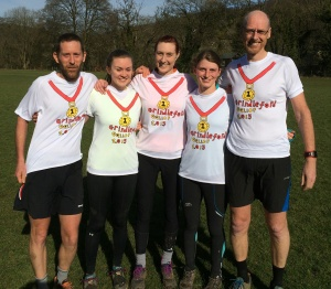 Ben, Elise, Anna, Bo, Steve celebrating at the finish of the Gallop... the start of training for the next race...