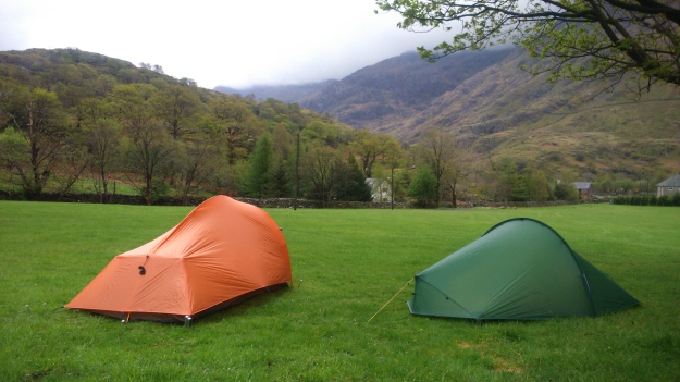 Camping in Nant Peris, looking up to the Llanberis Pass
