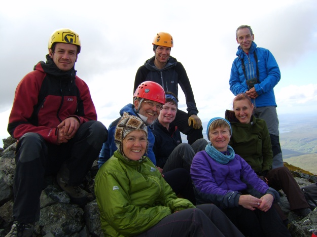 On the summit of Sgurr Nan Gillean with Castle Mountaineering Club and flip flops...