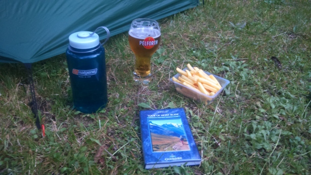 Welcome sustenance and the Cicerone guide at Camping le Pontet, Les Contamines