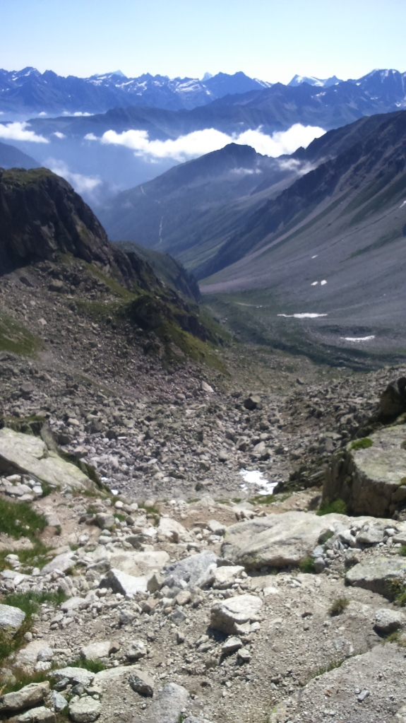 Looking back down the steep boulder field and valley leading up to the Fenetre d'Arpette