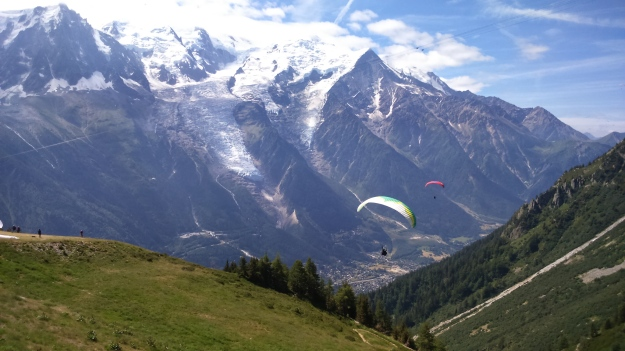 Paragliders taking off from the Brevent