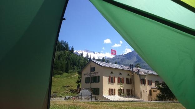 Swiss camping on the terrace at Hotel du Col de la Forclaz