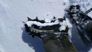 Crampons ready for action.